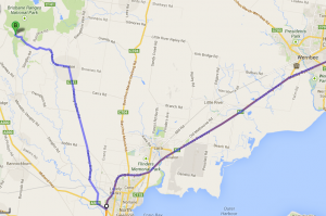 Map for getting to the Brisbane Ranges via Werribee or Geelong
