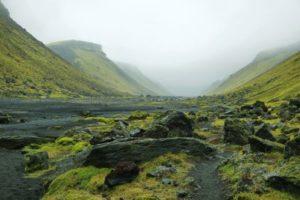 Ofaerufoss waterfall in Eldgja canyon, Iceland highlands