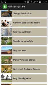 Parks Victoria App - Parks discovery magazine screen