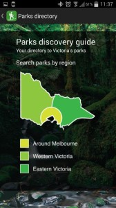 Parks Victoria App - Parks discovery region screen