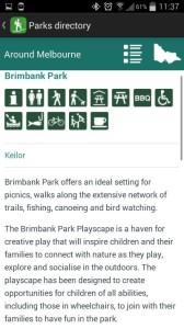 Parks Victoria App - park info