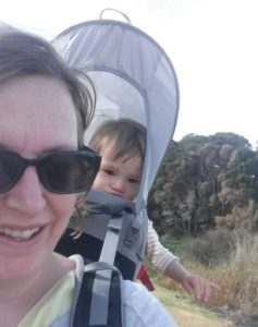 Walking around Cherry Lake Altona with a toddler in the backpack