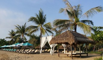 The immaculate beach along the waterfront, Nusa Dua, Bali