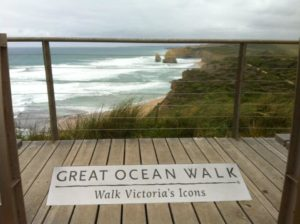 Great Ocean Walk sign looking over the Apostles