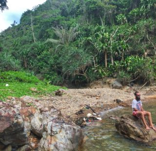 Taking a break on the Kapas Island jungle trek