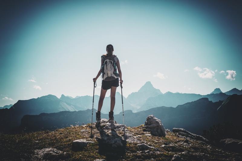 A woman hiking alone