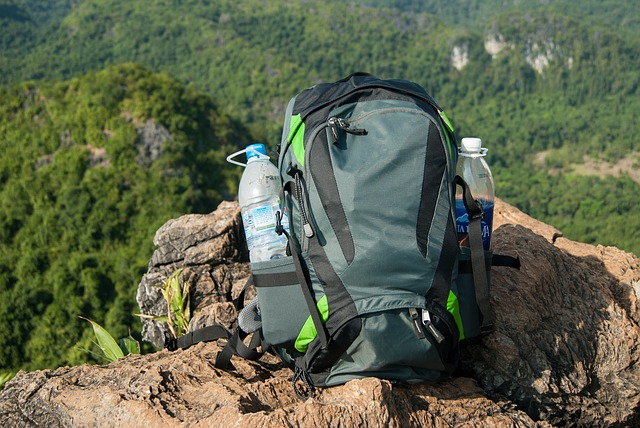 Backpack with water bottles sitting on a ledge overlooking a forest