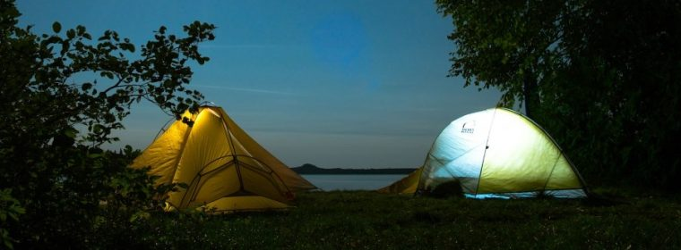 Camping in tents under the moon