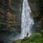 Hiking near a waterfall